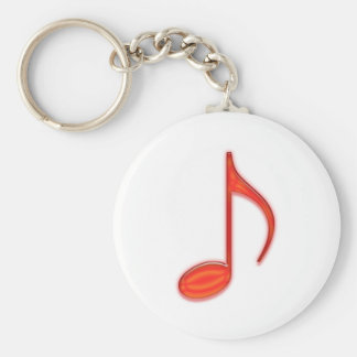 8th Note Large Red Plastic 2010 Basic Round Button Key Ring