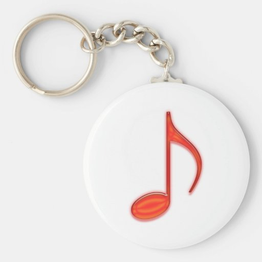 8th Note Large Red Plastic 2010 Key Chain