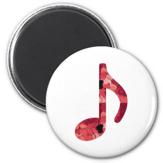 8th Note With Hearts Inside Of Design 6 Cm Round Magnet