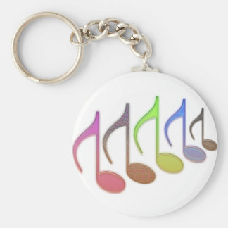 8th Notes Reversed Pastel Colors Basic Round Button Key Ring