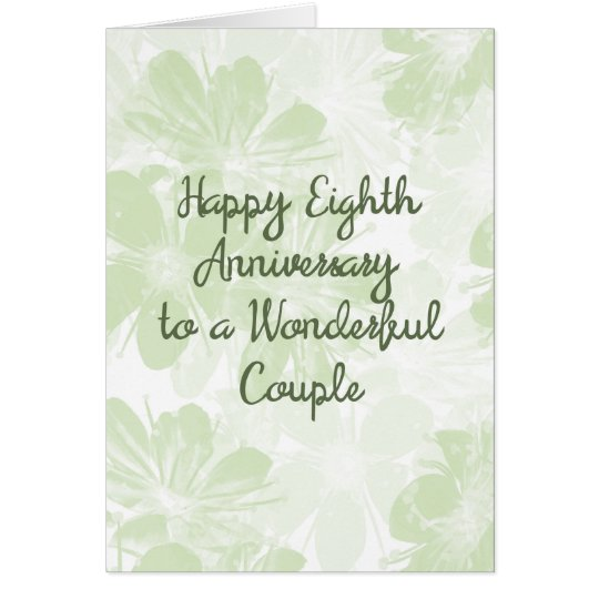 8th Wedding Anniversary Card Green Flowers