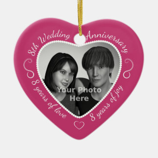 8th Wedding Anniversary Photo Christmas Ornament