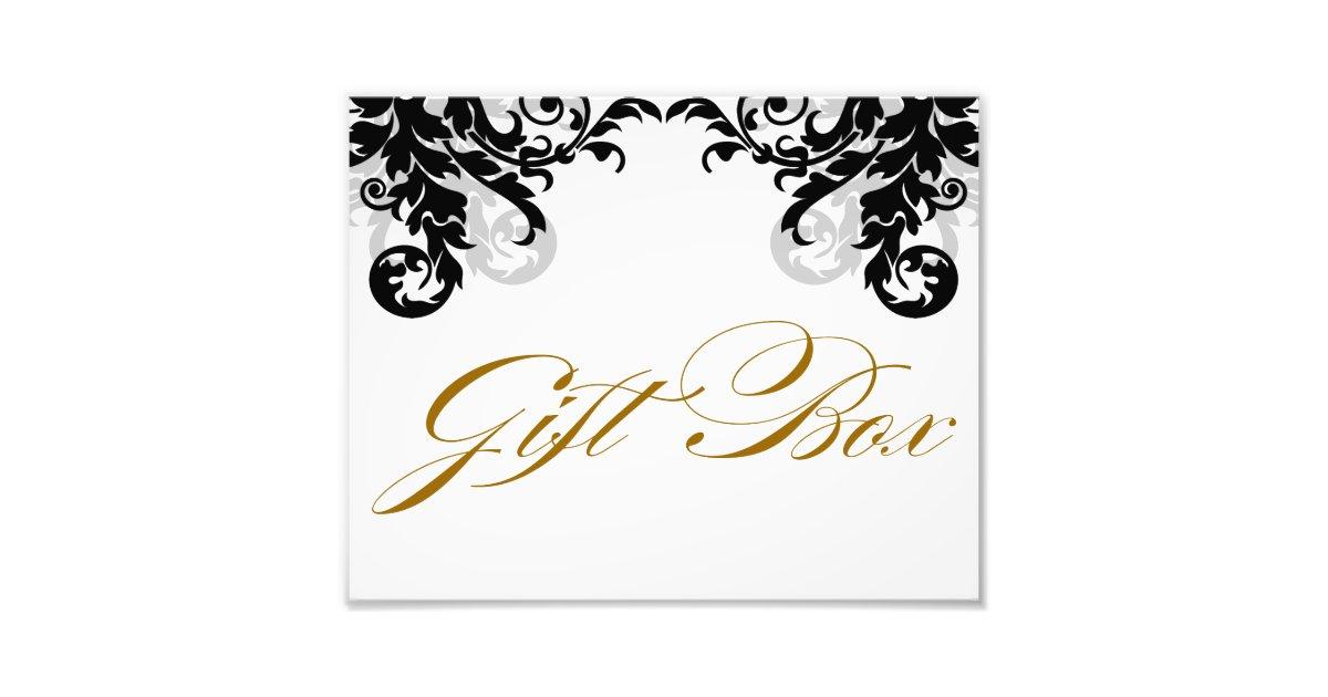 Wedding Gift Box Sign : 8x10 Flourish Wedding Gift Box Sign for Framing Art Photo Zazzle