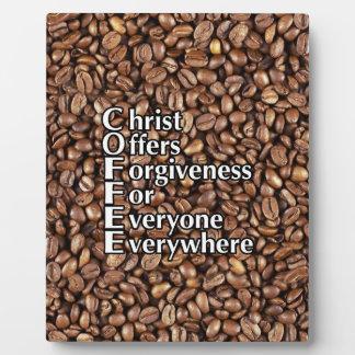 8x10 Plaque COFFEE beans Christ Offers Forgi