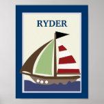 8X10 SAILBOAT Nautical Nursery Art Print