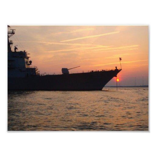 8x10 USS FARRAGUT (DDG 99) Destroyer at Sunset Photograph