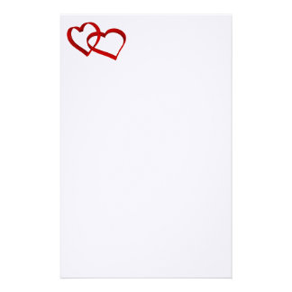 "8x11"" paper sheet with linked hearts custom stationery"