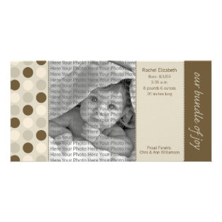 8x4 Birth Announcement Beige and Brown Polka Dots Customized Photo Card