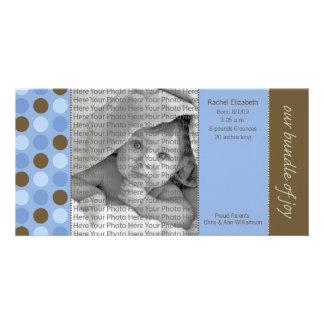8x4 Birth Announcement Blue and Brown Polka Dots Card