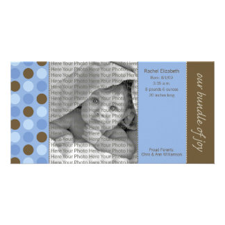 8x4 Birth Announcement Blue and Brown Polka Dots Customized Photo Card