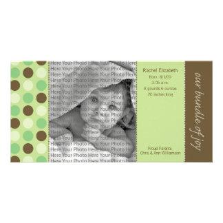 8x4 Birth Announcement Green and Brown Polka Dots Card