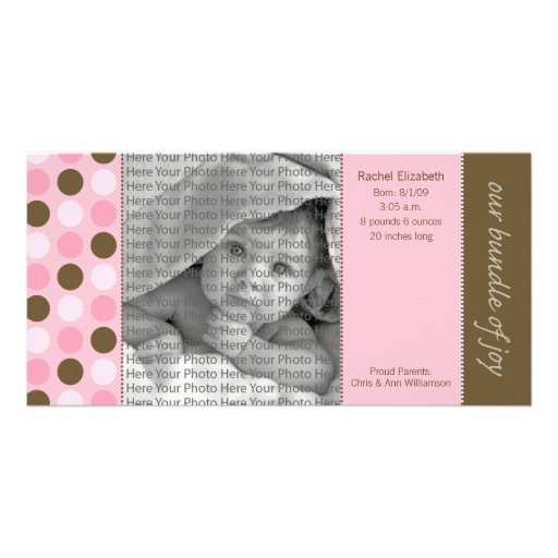 8x4 Birth Announcement Pink and Brown Polka Dots Personalized Photo Card