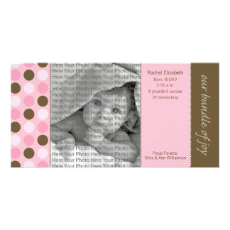 8x4 Birth Announcement Pink and Brown Polka Dots Photo Greeting Card
