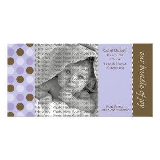 8x4 Birth Announcement Purple and Brown Polka Dots Card