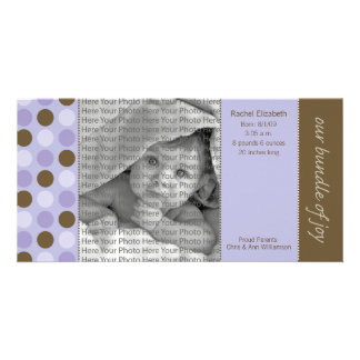 8x4 Birth Announcement Purple and Brown Polka Dots Photo Cards