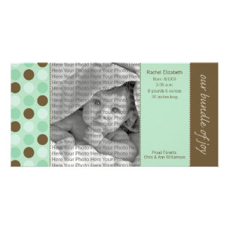 8x4 Birth Announcement Sage and Brown Polka Dots Photo Greeting Card