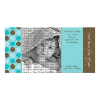 8x4 Birth Announcement Teal and Brown Polka Dots Card
