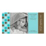 8x4 Birth Announcement Teal and Brown Polka Dots Personalised Photo Card