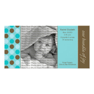 8x4 Birth Announcement Teal and Brown Polka Dots Photo Cards
