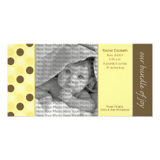 8x4 Birth Announcement Yellow and Brown Polka Dots Card