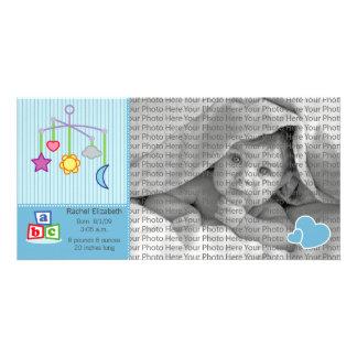 8x4 Birth Photo Announcement Blue Hearts Card