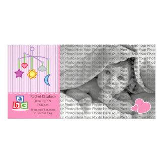 8x4 Birth Photo Announcement Pink Hearts Card