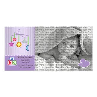8x4 Birth Photo Announcement Purple Hearts Photo Card
