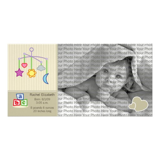 8x4 Birth Photo Announcement Taupe Hearts Custom Photo Card