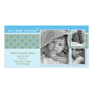 8x4 Blue Baroque 3-Photo Birth Announcement Card
