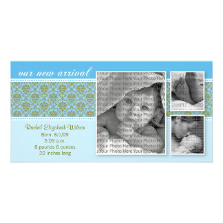 8x4 Blue Baroque 3-Photo Birth Announcement Picture Card