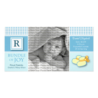 8x4 Blue Gingham Monogrammed Birth Announcement Customised Photo Card