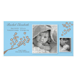 8x4 Branch Design Birth Announcement Blue/Brown Custom Photo Card
