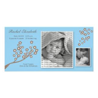 8x4 Branch Design Birth Announcement Blue/Brown Custom Photo Card