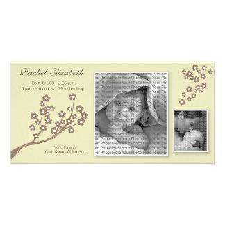 8x4 Branch Design Birth Announcement Khaki/Brown Card