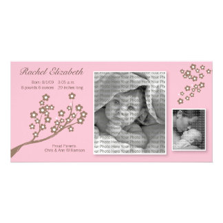 8x4 Branch Design Birth Announcement Pink/Brown Picture Card