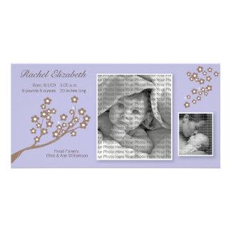 8x4 Branch Design Birth Announcement Purple/Brown Card