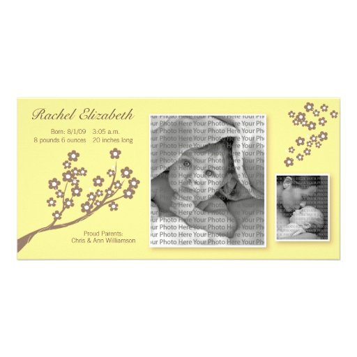 8x4 Branch Design Birth Announcement Yellow/Brown Photo Card Template
