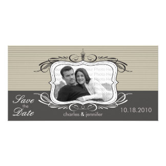 """8x4"""" Chic Deco Taupe Save the Date Announcement Customized Photo Card"""