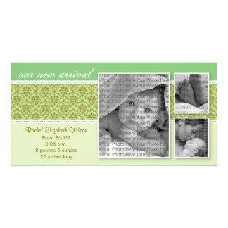 8x4 Green Baroque 3-Photo Birth Announcement Card