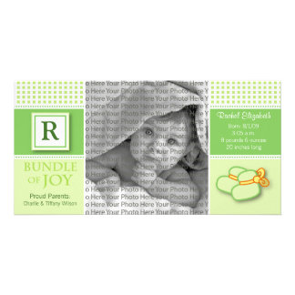 8x4 Green Gingham Monogrammed Birth Announcement Customised Photo Card