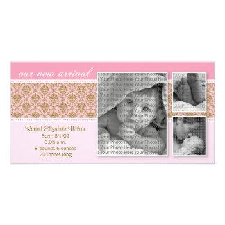 8x4 Pink Baroque 3-Photo Birth Announcement Card