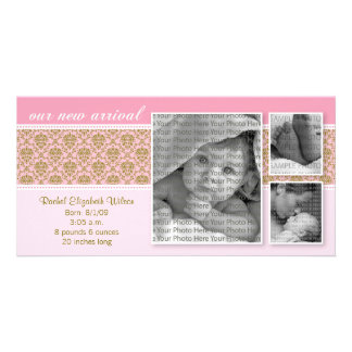 8x4 Pink Baroque 3-Photo Birth Announcement Personalized Photo Card