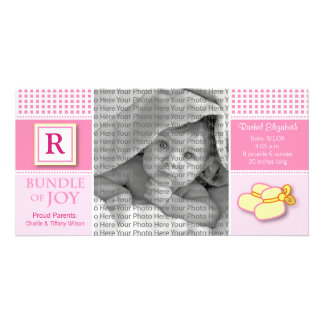 8x4 Pink Gingham Monogrammed Birth Announcement Card