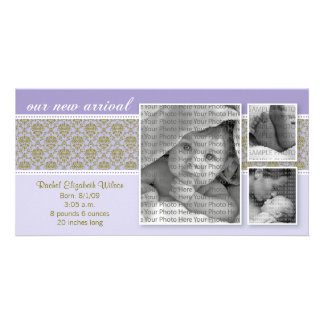 8x4 Purple Baroque 3-Photo Birth Announcement Personalized Photo Card