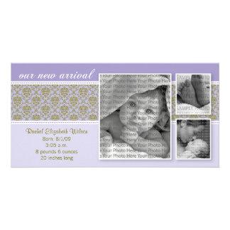 8x4 Purple Baroque 3-Photo Birth Announcement Personalized Photo Card
