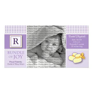 8x4 Purple Gingham Monogrammed Birth Announcement Card