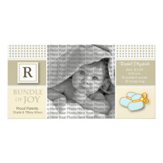 8x4 Taupe Gingham Monogrammed Birth Announcement Personalised Photo Card