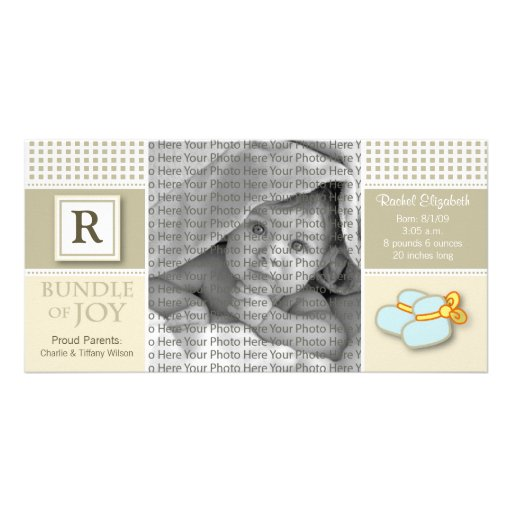 8x4 Taupe Gingham Monogrammed Birth Announcement Photo Greeting Card