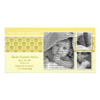 8x4 Yellow Baroque 3-Photo Birth Announcement Picture Card