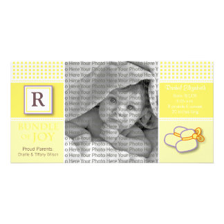8x4 Yellow Gingham Monogrammed Birth Announcement Personalized Photo Card